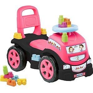 Veiculo Para Bebe Blocks Truck Menina C/10Blocos Cardoso Toys