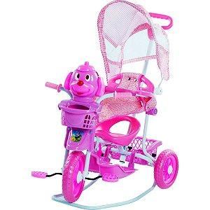 Veiculo Para Bebe Triciclo C/capota 3Em1 Rosa Belfix