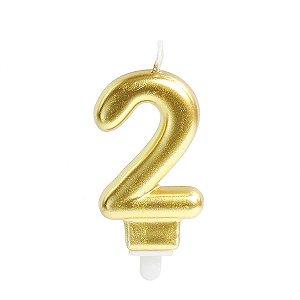 Vela Para Aniversario N.02 Perolizada Ouro Cromus