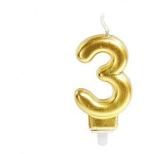 Vela Para Aniversario N.03 Perolizada Ouro Cromus