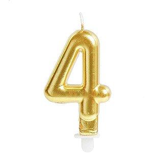 Vela Para Aniversario N.04 Perolizada Ouro Cromus