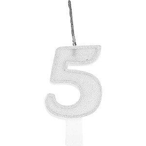 Vela Para Aniversario N.05 Glitter Branca Festcolor