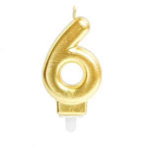 Vela Para Aniversario N.06 Perolizada Ouro Cromus