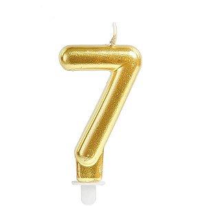 Vela Para Aniversario N.07 Perolizada Ouro Cromus