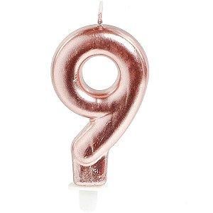 Vela Para Aniversario N.09 Perolizada Rose Cromus