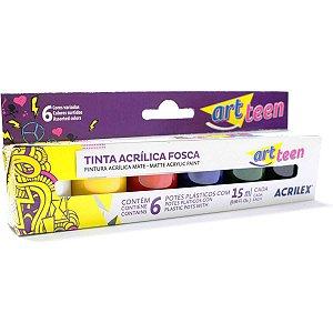 Tinta Acrilica Fosca Estojo C/06 Cores Sort.15Ml. Acrilex