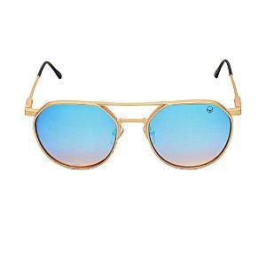 Óculos de Sol Circle Dourado Azul Black Skull 24618