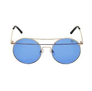 Óculos De Sol Sunshine Azul e Dourado Black Skull 22169