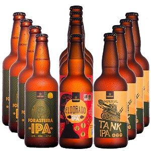 """KIT """"IBU"""" de Cerveja Artesanal com as IPAs da CAMPINAS - 12 unid. de 500ml"""