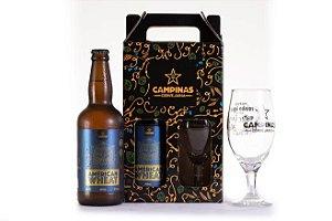 KIT de Cerveja Artesanal American Wheat de 500ml + uma Taça, Ideal para Acompanhar uma Comida Japonesa