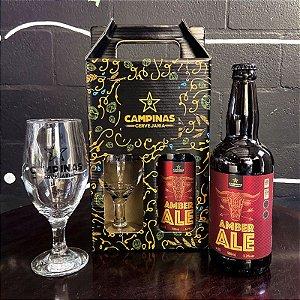 Kit de Cerveja Artesanal com 1 American Amber Ale 500ml + 1 Taça de Cerveja