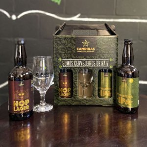 Kit de Cerveja Artesanal com 1 American HOP Lager 500ml + 1 American IPA 500ml + 1 Taça de Cerveja