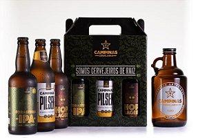 KIT de Cerveja Artesanal com Growler de Vidro de 1 Litro
