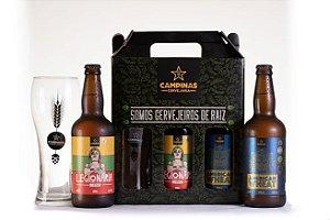 KIT de Cerveja Artesanal de Trigo com Copo e 2 Garrafas 500ml
