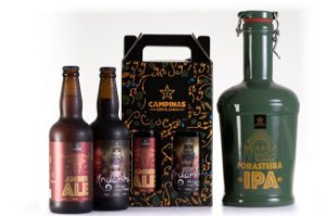 KIT de Cerveja Artesanal com Growler de Cerâmica de 2 Litros + American Amber Ale 500ml + English Oatmeal Stout 500ml