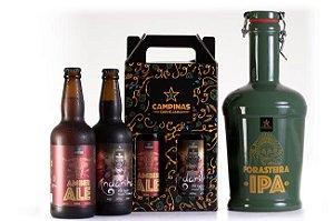 KIT de Cerveja Artesanal com Growler de Cerâmica de 2 Litros + American Amber Ale 500ml + English Oatmeal Stout 500ml