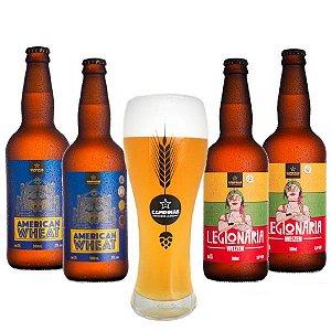 Kit de Cerveja Artesanal Cervejas de Trigo - 2 Legionária Weizen 500ml + 2 American Wheat 500ml + Copo Weiss
