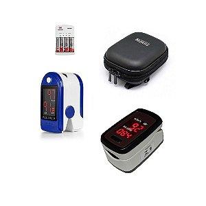 Kit 2 Oxímetros de dedo em LED com Case Exclusiva e Pilhas Inclusas
