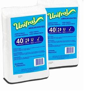 Absorvente Geriátrico Unifral com 40 unidades.