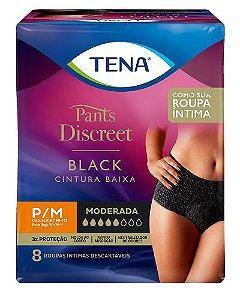 ROUPA ÍNTIMA TENA PANTS DISCREET BLACK P/M 8 UNIDADES