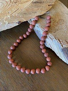 Colar curto de nó,esferas de vidro (tipo murano).