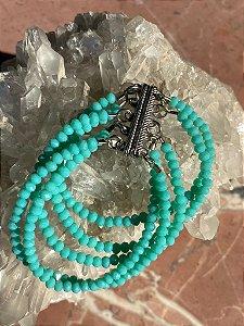 Conjunto de pulseiras com fecho de imã de cristais tchecos lapidados azul tiffany.
