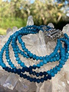Conjunto de pulseiras de cristais tchecos lapidados azul petróleo com fecho de imã.