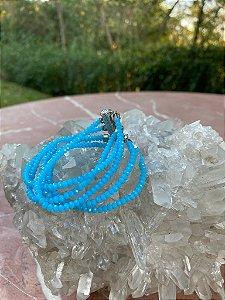 Conjunto de pulseiras cristais tchecos lapidados azul celeste com fecho de imã.