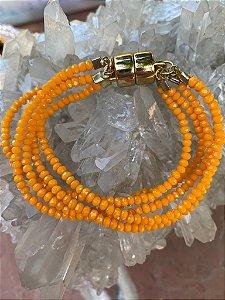 Conjunto de pulseiras cristais tchecos lapidados com fecho de imã.
