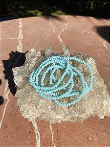 Conjunto de pulseiras cristais tchecos lapidados azul celeste.