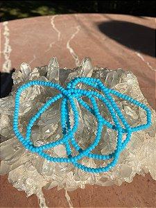 Conjunto de pulseiras cristais tchecos lapidados azul capri.