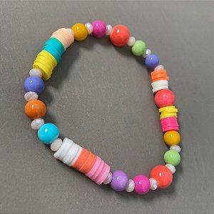 Pulseira mista multicores de borrachinhas indianas , esferas de vidro colorido (tipo murano) e cristais tchecos lapidados.