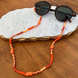 Cordão de óculos e cordão de máscara de miçangas e borrachinhas indianas laranja.