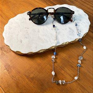 Cordão de óculos e cordão de máscara , alfinetado com cascalhos de pedras naturais e pérolas barrocas.