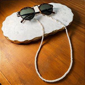 Cordão de óculos e cordão de máscara com pérolas e cristais tchecos lapidados cru.