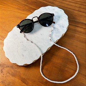 Cordão de óculos e cordão de máscara com pérolas e cristais tchecos lapidados lilás.