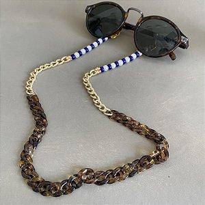 Cordão de óculos e cordão de máscara de elos em polímero, elos em metal banhado, pérolas e miçangas azul bic.