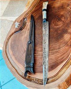 """Faca Damasco 14"""" lingua de ximango 6mm cabo de chifre de cervo e madeira"""