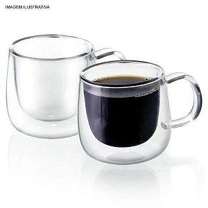 Dupla de xícara de café de vidro