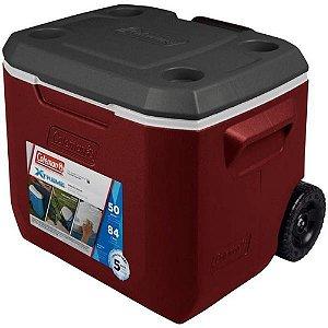 Caixa Térmica 50Qt 47,3 Litros Vermelho C/Rodas - Coleman