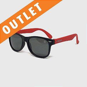 [OUTLET] Óculos de Sol Infantil Flexível com Lente Polarizada e Proteção UV400 Preto e Vermelho