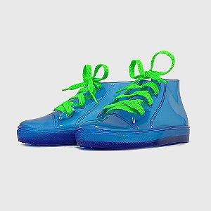 Tênis KidSplash! Transparente/ Azul Neon com Cadarço Verde Neon