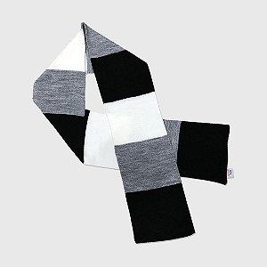 Cachecol 3 Color - Preto/Off White/Cinza