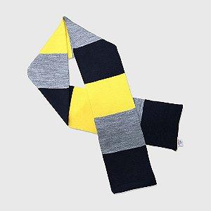 Cachecol 3 Color - Marinho/Amarelo/Cinza