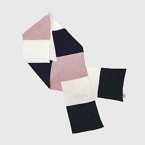 Cachecol 3 Color - Rosa/Marinho/Off White
