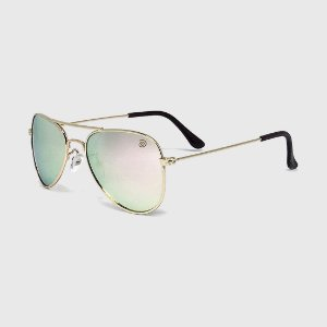 Óculos de Sol Infantil com Proteção UV400 Aviador Espelhado Rosê