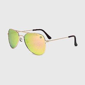 Óculos de Sol Infantil com Proteção UV400 Aviador Espelhado Furtacor