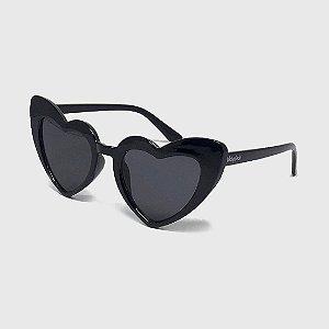 Óculos de Sol Infantil com Proteção UV400 Coração Acetato Preto