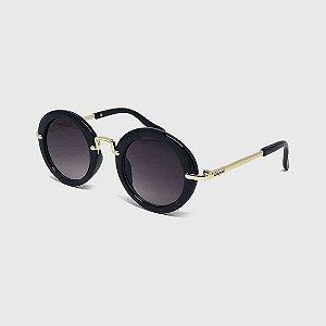 Óculos de Sol Infantil com Proteção UV400 Redondo Acetato Preto