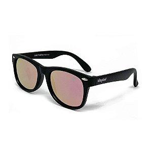 Óculos de Sol Infantil Flexível com Lente Polarizada Espelhada Rosa e Proteção UV400 Preto